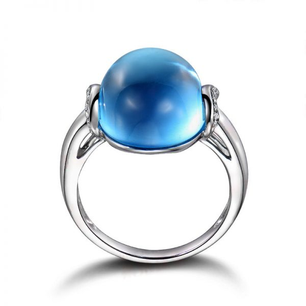 13.65ct Natural Blue Topaz in 18K Gold Ring