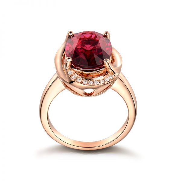 5.75ct Natural Red Tourmaline in 18K Gold Ring