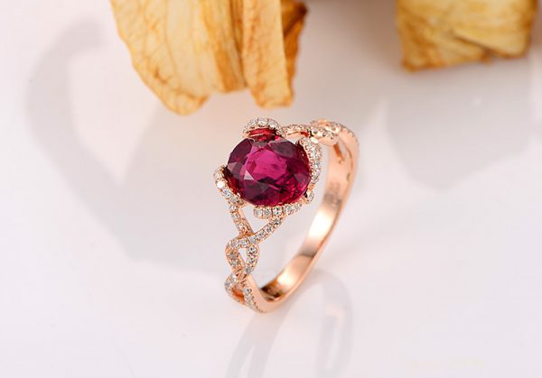 1.85ct Natural Red Tourmaline in 18K Gold Ring