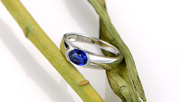 1.17ct Natural Blue Sapphire in 18K Gold Ring