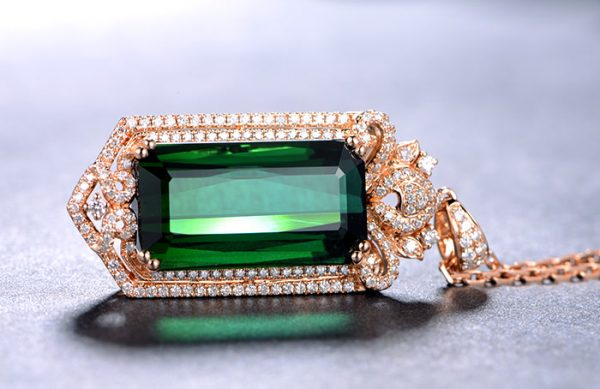 23.5ct Natural Green Tourmaline in 18K Gold Pendant