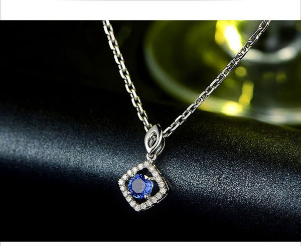 0.61ct Natural Blue Sapphire in 18K Gold Pendant