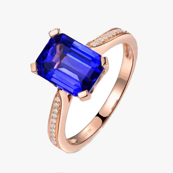 3.15ct Natural Blue Tanzanite in 18K Gold Ring