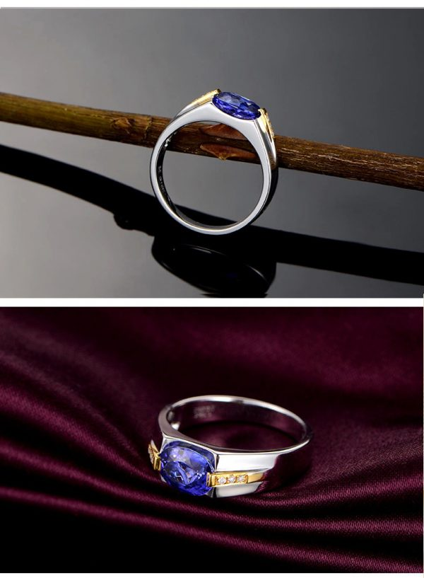 1.15ct Natural Blue Tanzanite in 18K Gold Ring