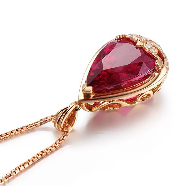 11.61ct Natural Red Tourmaline in 18K Gold Pendant