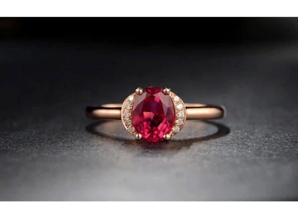 1.19ct Natural Red Tourmaline in 18K Gold Ring