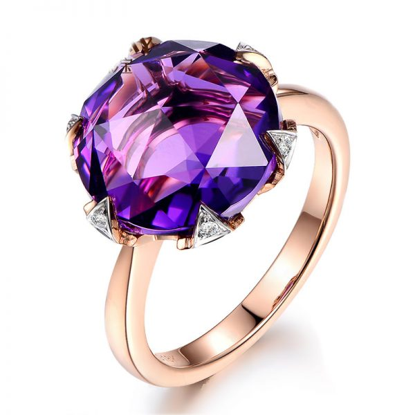 7.5ct Natural Purple Amethyst in 18K Gold Ring