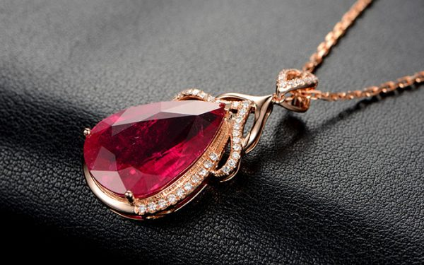 16.8ct Natural Red Tourmaline in 18K Gold Pendant