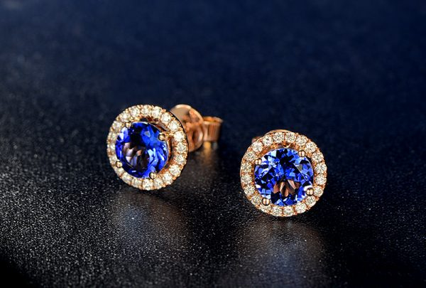 2.03ct Natural Blue Tanzanite in 18K Gold Earring