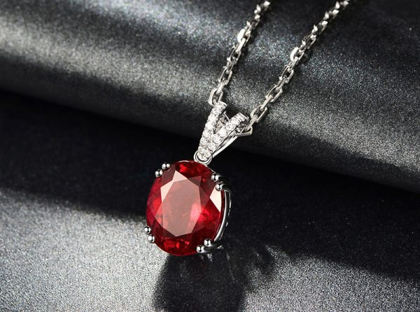 7.85ct Natural Red Tourmaline in 18K Gold Pendant