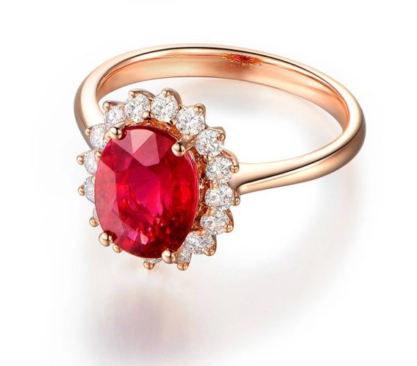 1.33ct Natural Red Tourmaline in 18K Gold Ring