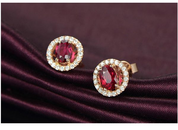 1.28ct Natural Red Ruby in 18K Gold Earring