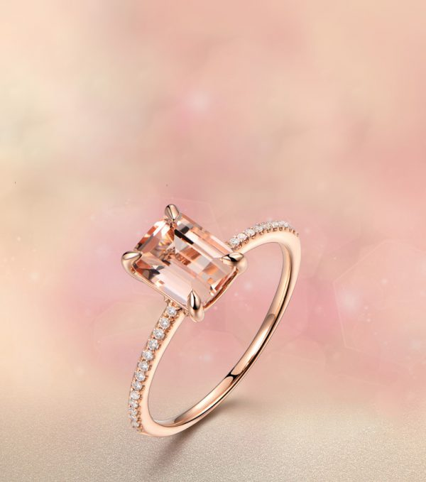 1.35ct Natural Peach Morganite in 18K Gold Ring
