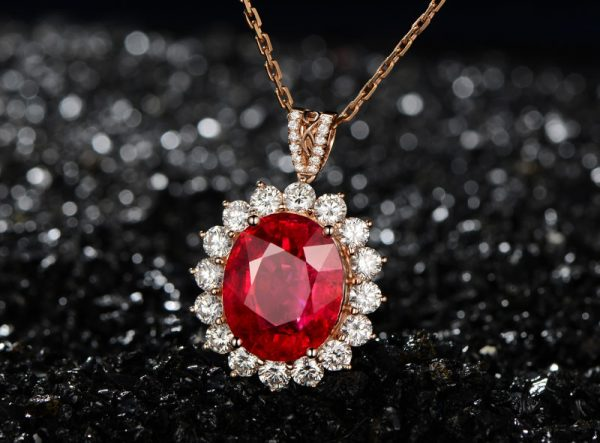 14.83ct Natural Red Tourmaline in 18K Gold Pendant