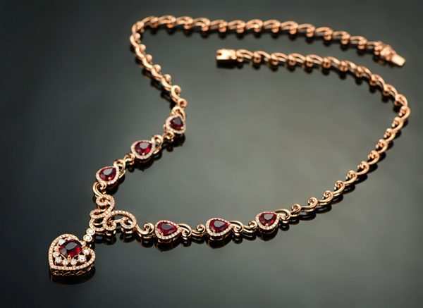 9ct Natural Red Ruby in 18K Gold Necklace