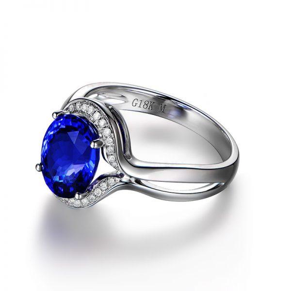 2.73ct Natural Blue Tanzanite in 18K Gold Ring
