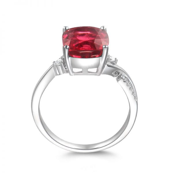 4.3ct Natural Red Tourmaline in 18K Gold Ring