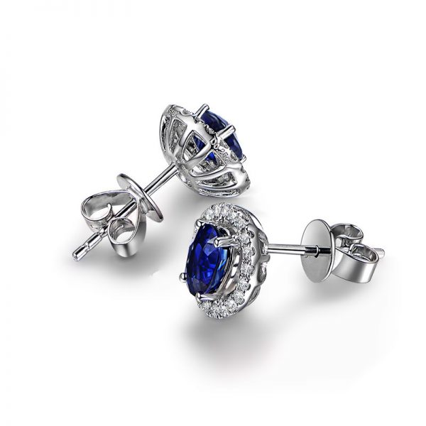 1.35ct Natural Blue Sapphire in 18K Gold Earring