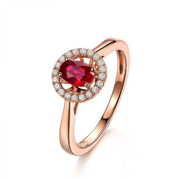 0.68ct Natural Red Ruby in 18K Gold Ring