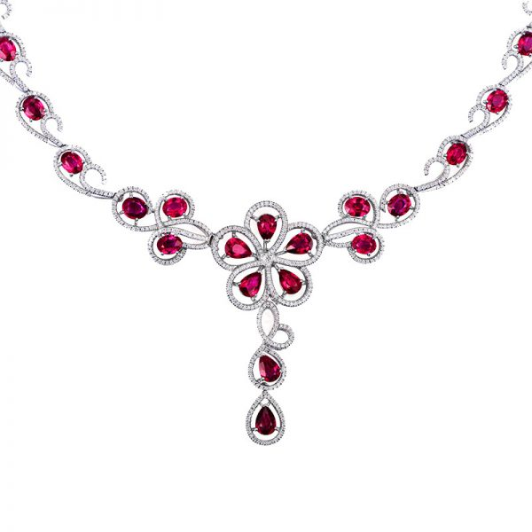 14.42ct Natural Red Ruby in 18K Gold Necklace