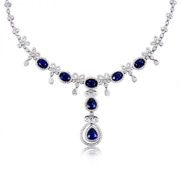 16.62ct Natural Blue Sapphire in 18K Gold Necklace