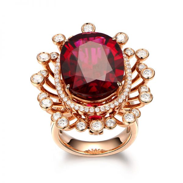 31.7ct Natural Red Tourmaline in 18K Gold Ring