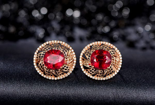 7.55ct Natural Red Tourmaline in 18K Gold Earring