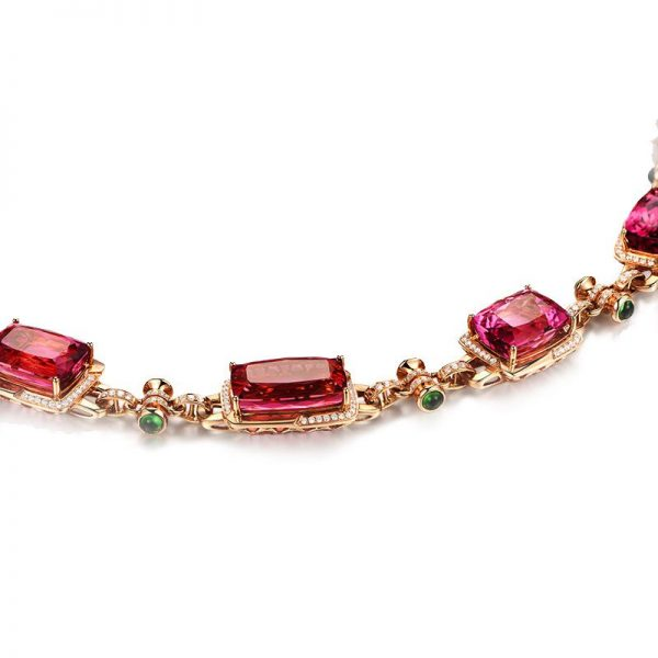103.75ct Natural Pink Tourmaline in 18K Gold Necklace
