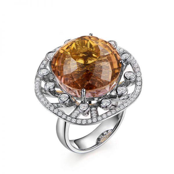 37.8ct Natural Yellow Tourmaline in 18K Gold Ring