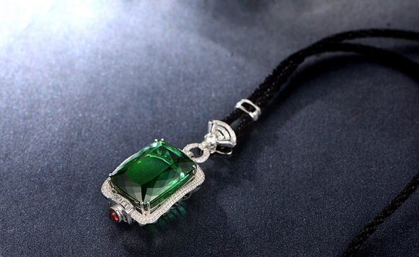 96.3ct Natural Green Tourmaline in 18K Gold Pendant
