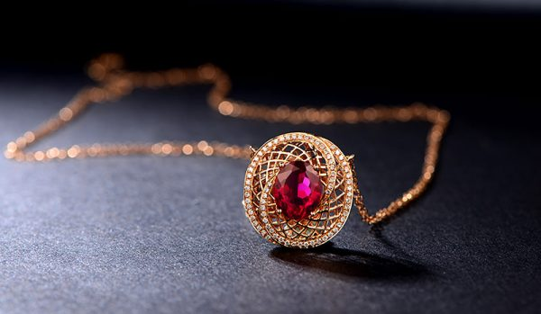 5.35ct Natural Red Tourmaline in 18K Gold Pendant