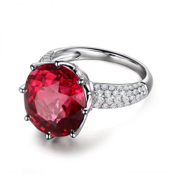 12.5ct Natural Red Garnet in 18K Gold Ring