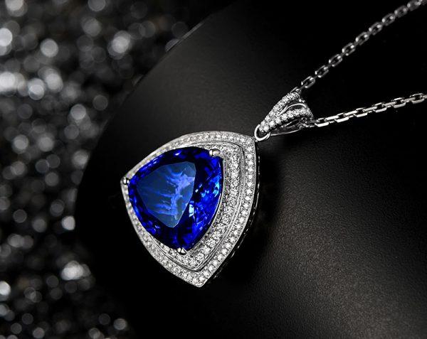 18.5ct Natural Blue Tanzanite in 18K Gold Pendant