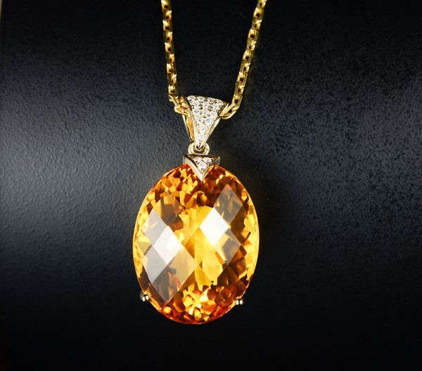 30ct Natural Yellow Citrine in 18K Gold Pendant