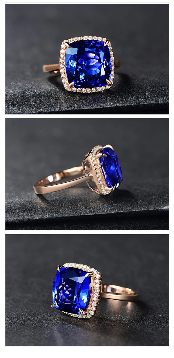 9.5ct Natural Blue Tanzanite in 18K Gold Ring