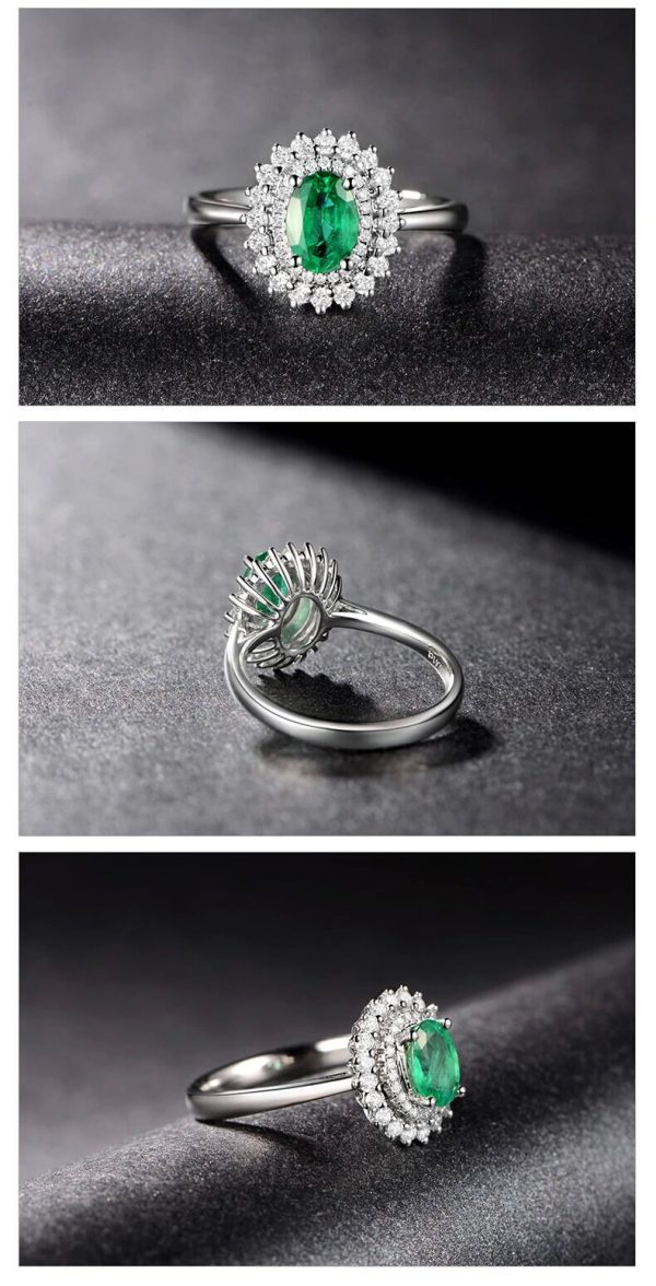 0.85ct Natural Green Emerald in 18K Gold Ring