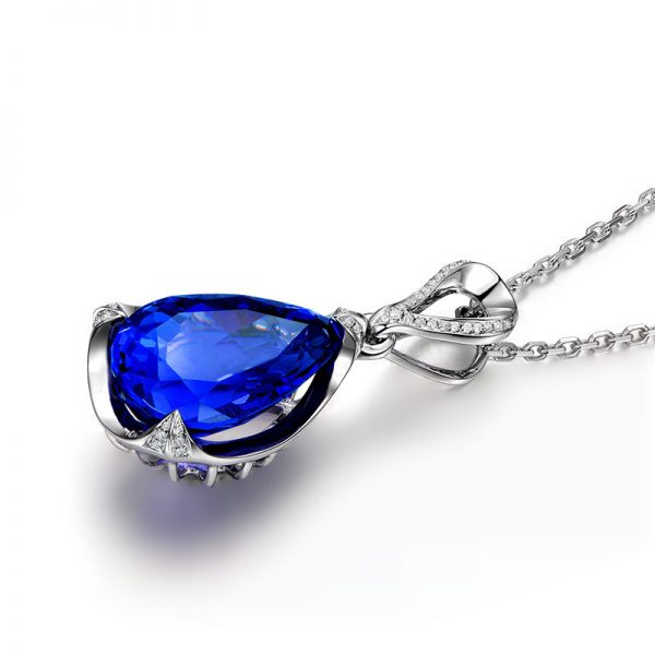 4.37ct Natural Blue Tanzanite in 18K Gold Pendant