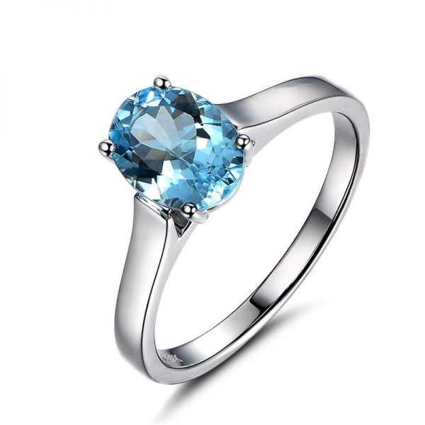 1.2ct Natural Blue Aquamarine in 18K Gold Ring