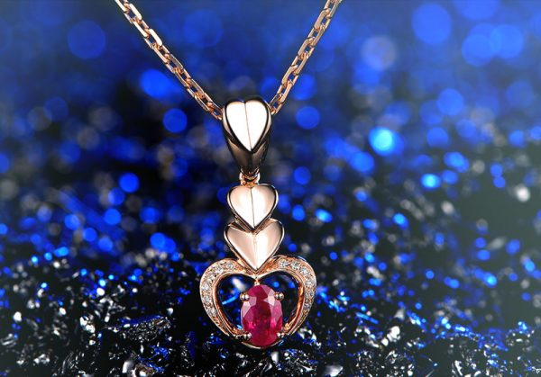0.6ct Natural Red Ruby in 18K Gold Pendant