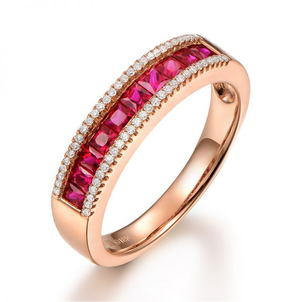 0.8ct Natural Red Ruby in 18K Gold Ring