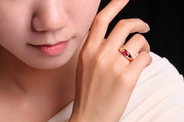 0.27ct Natural Red Ruby in 18K Gold Ring
