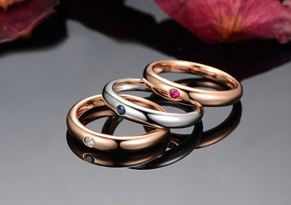 0.5ct Natural Multi Colored Stones in 18K Gold Ring