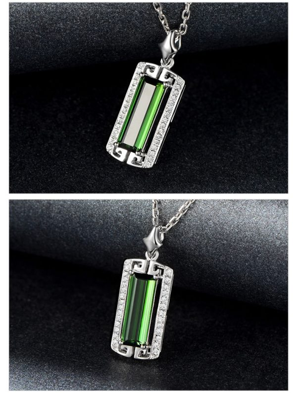 2.85ct Natural Green Tourmaline in 18K Gold Pendant