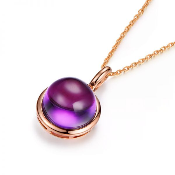 7.1ct Natural Purple Amethyst in 18K Gold Pendant