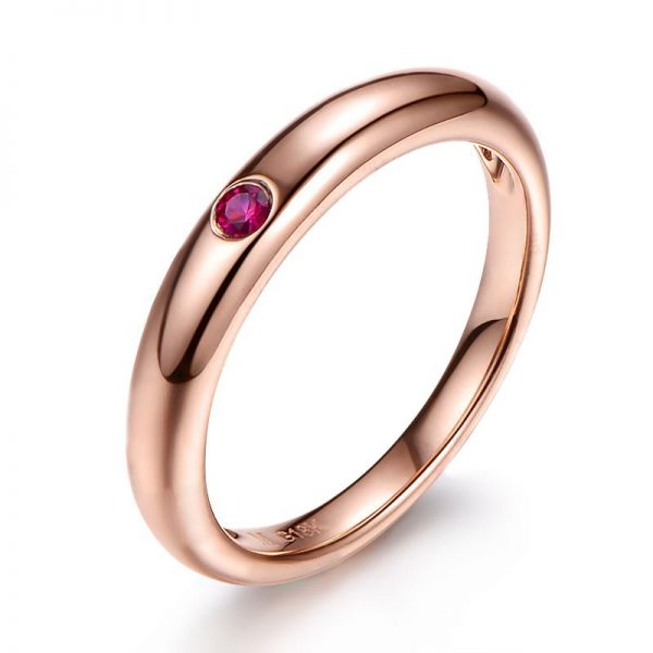 0.05ct Natural Red Ruby in 18K Gold Ring