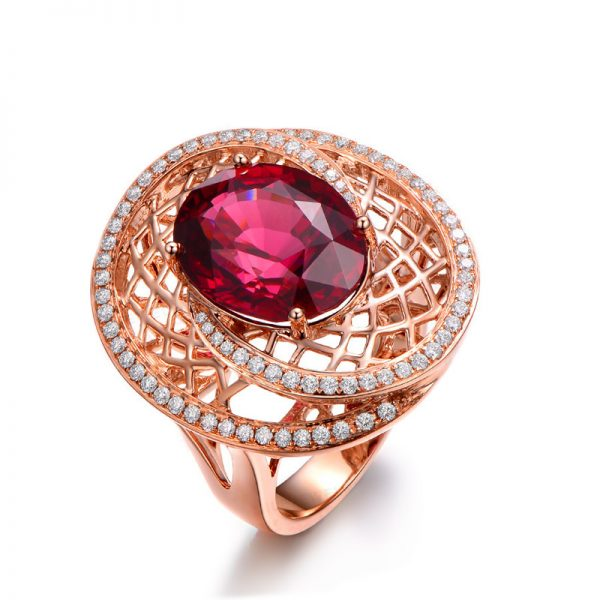 11.5ct Natural Red Tourmaline in 18K Gold Ring