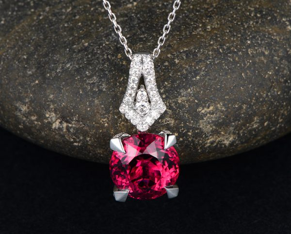 12.5ct Natural Pink Tourmaline in 18K Gold Pendant