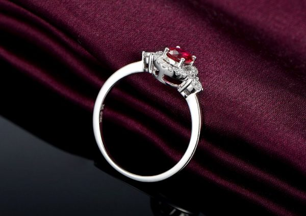 0.49ct Natural Red Ruby in 18K Gold Ring
