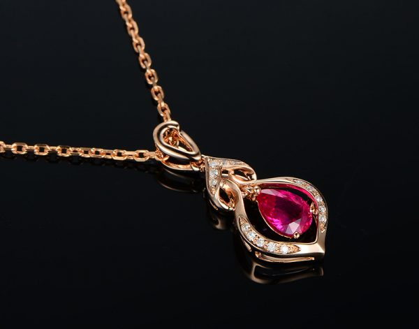 1.01ct Natural Red Ruby in 18K Gold Pendant