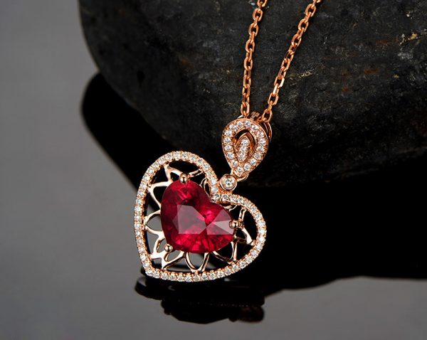 3.4ct Natural Red Tourmaline in 18K Gold Pendant
